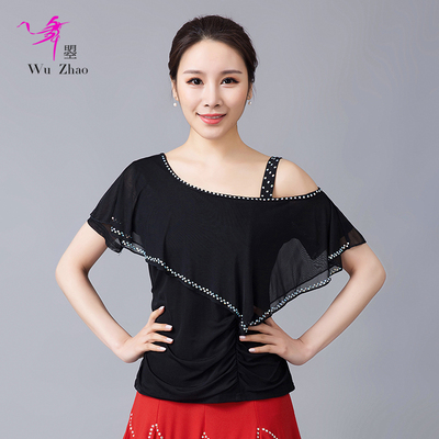 Adult Ladies Latin Dance Dress Short Sleeve Top Square Dance Dress Half Sleeve Top