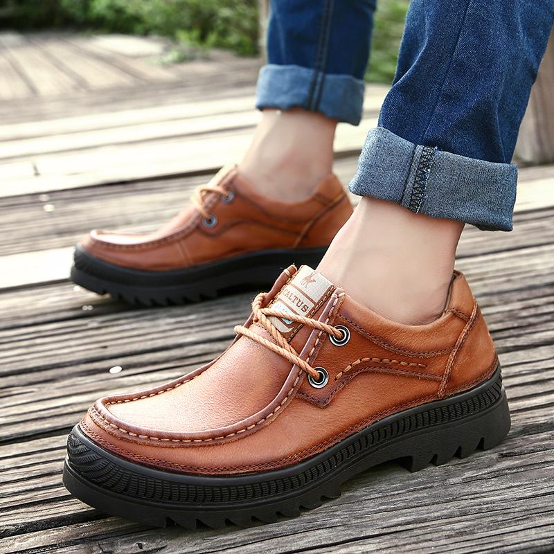 户外运动休闲真皮头层牛皮皮鞋纯色厚底耐磨秋季新款手工登山男鞋
