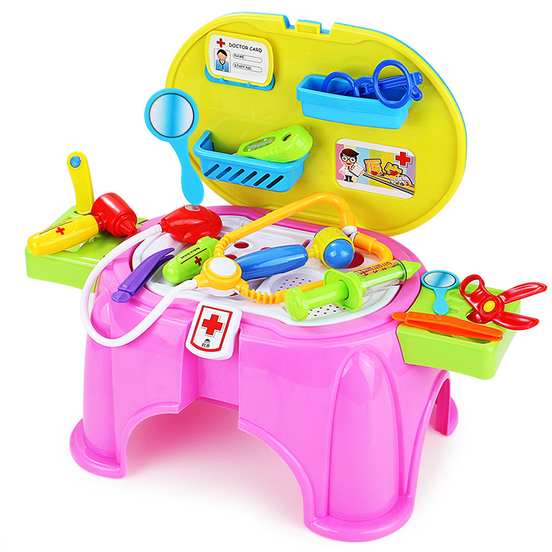 Color classification: Small bench Play House suit (tools) Children play house toys kitchen cutlery doctor injection set Girl 1