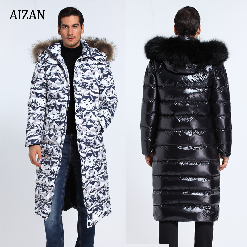 f6e37a446 Men's long down jacket long thickened large fur collar Long Down Coat large  size bright outdoor thick winter clothing