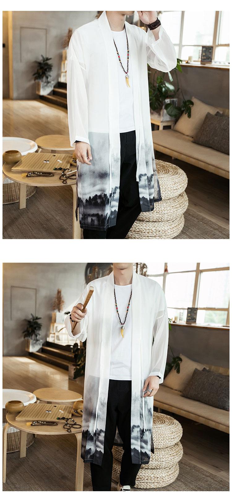 Retro Trung Quốc phong cách đàn ông của mùa hè siêu mỏng kem chống nắng quần áo voan áo gió áo khoác nam kem chống nắng quần áo cardigan