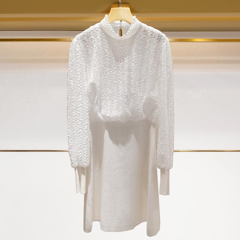 L2019秋长袖领半身雪纺新高钉珠衫拼接针织蕾丝裙连衣裙3465216