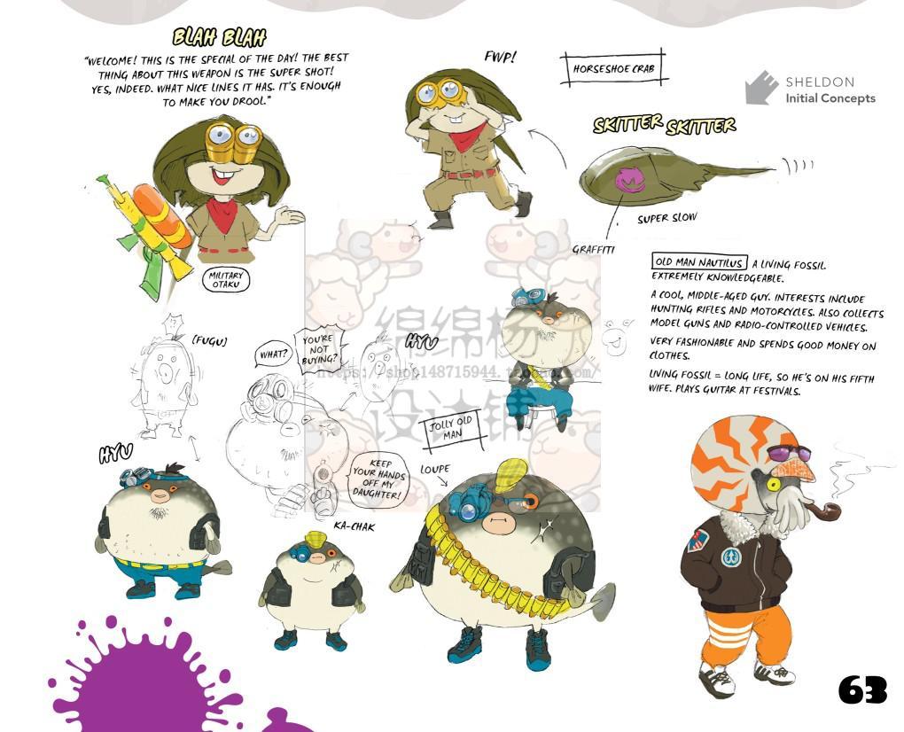 原画涂鸦阵地战 设定超级卡通角色 4v4手绘实例设计素材 油彩
