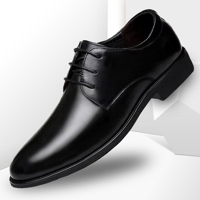 皮鞋男真皮夏季透气黑色男鞋软皮软底春秋伴郎男士商务正装休闲鞋