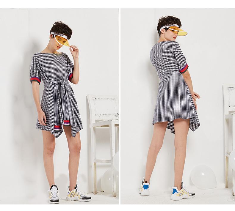 Mark Huafei của phụ nữ 2018 mùa hè mới tráng váy Châu Âu và Hoa Kỳ cổ áo lưới bất thường váy