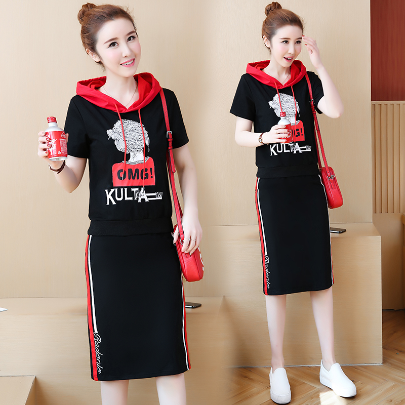 连帽卫衣女大码2019夏季韩版短袖休闲运动两件套套装连衣裙中长款