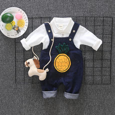 2018 new 0 baby children's clothing 1-3 years old male baby autumn suit set of gas 2 autumn and autumn bib tide boy