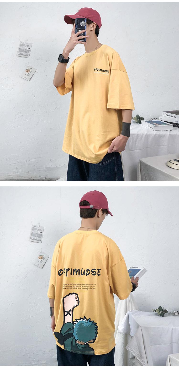 20新款原创印花T恤青少年宽松短袖原宿310A-T03P30黄色港风图