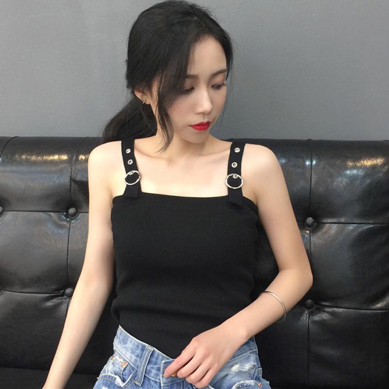春夏女装韩版百搭修身短款露脐针织背心学生外穿打底小吊带上衣潮