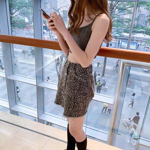 控價于36  豹紋印花牛仔裙女夏季半身裙高腰性感顯瘦a字包臀...
