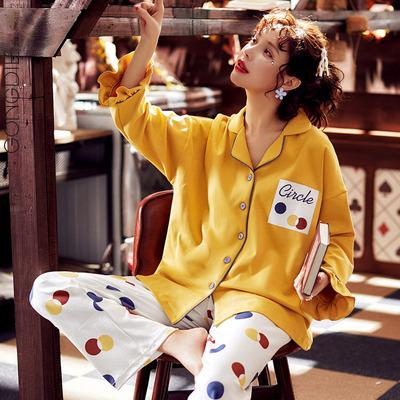 宫蝶纯棉睡衣女长袖薄款两件套装翻领圆点印花学生可爱外穿家居服