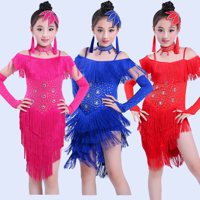 tassel child children professional latin dance dress for girls salsa spandex cha cha samba ballroom dancing dresses kids fringe
