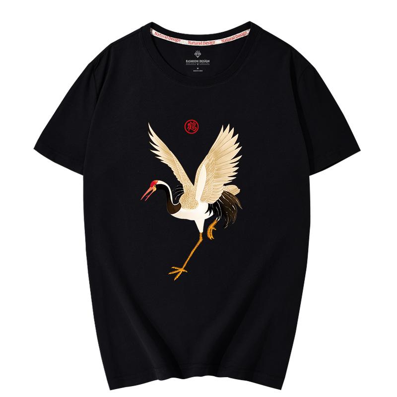 国潮情侣男士短袖t恤男潮牌宽松大码男装仙鹤流行中国风青春半袖