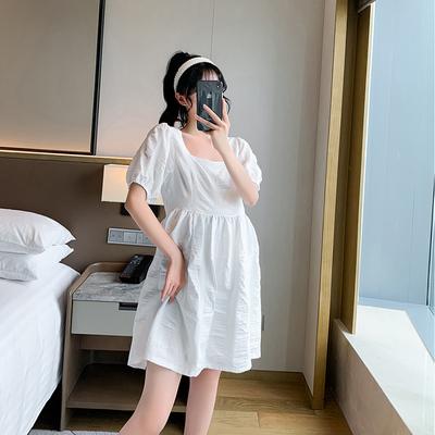 方领泡泡袖孕妇装连衣裙中长款高腰遮肚潮妈洋气时尚款小个子裙子