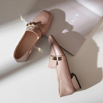 头层牛皮英伦风2020春季新款拼色乐福鞋女方中跟头一脚蹬单鞋