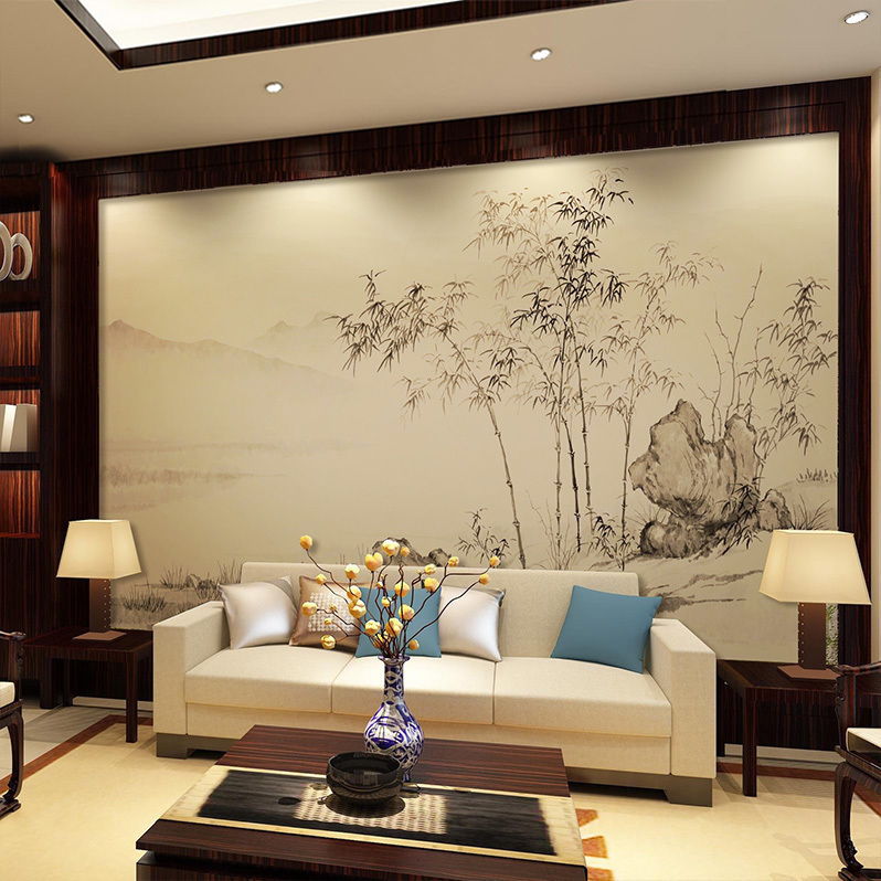 Usd 1429 Modern New Chinese Wallpaper Study Video Wall Hand