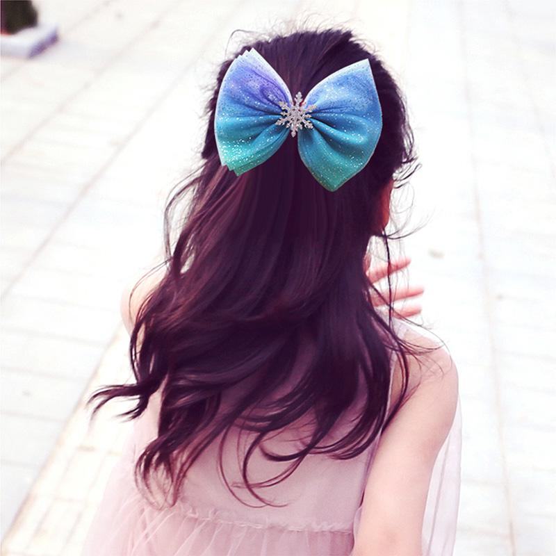 儿童发夹发饰大蝴蝶结冰雪奇缘头饰爱莎公主夹子女童发圈女孩发卡
