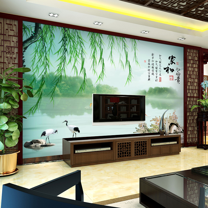 Chinese TV background wall wallpaper 3D living room video wall ...