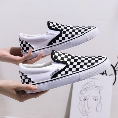 Mrs Vance Reversing Checkerboard canvas shoes male Korean fashion wild casual summer shoes a pedal to help low shoes