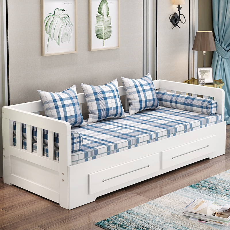 Folding Solid Wood Sofa Bed Small Apartment Push Pull Multi Function