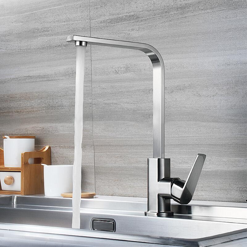 冷热体面盆水槽水龙头拉丝304不锈钢四方龙头洗菜洗家用厨房全铜