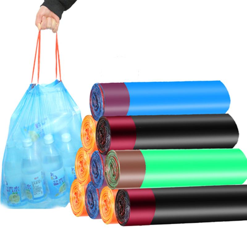 帮洁劲抖音网红垃圾袋家用加厚抽绳收口黑厚背心式办公室厨房实惠