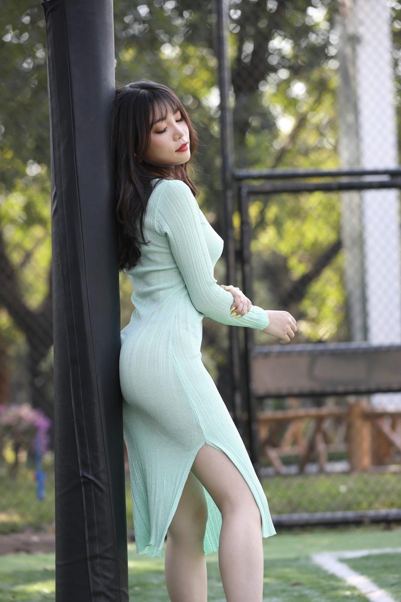芝芝性感浅绿色包臀裙【套图+视频】 935935  帖子ID:659