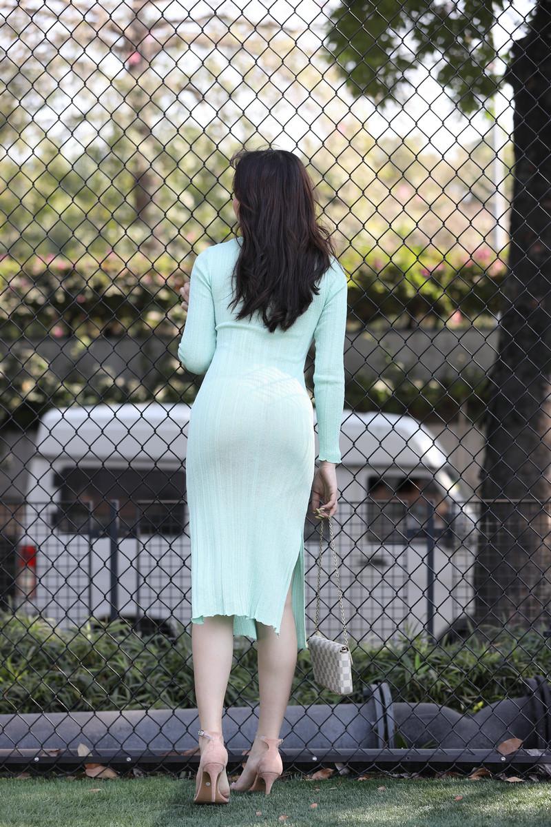 芝芝性感浅绿色包臀裙【套图+视频】 89868986  帖子ID:659