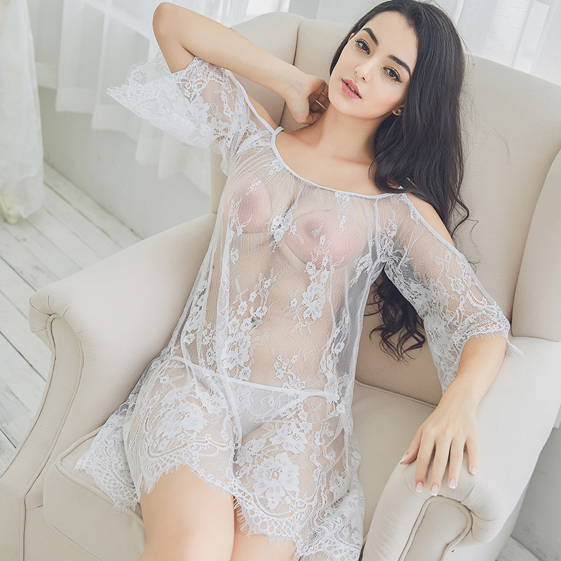 5dea1c7e221a Sexy lingerie big size eyelashes lace pajamas women s sexy transparent  suspenders nightdress strapless skirt set thin