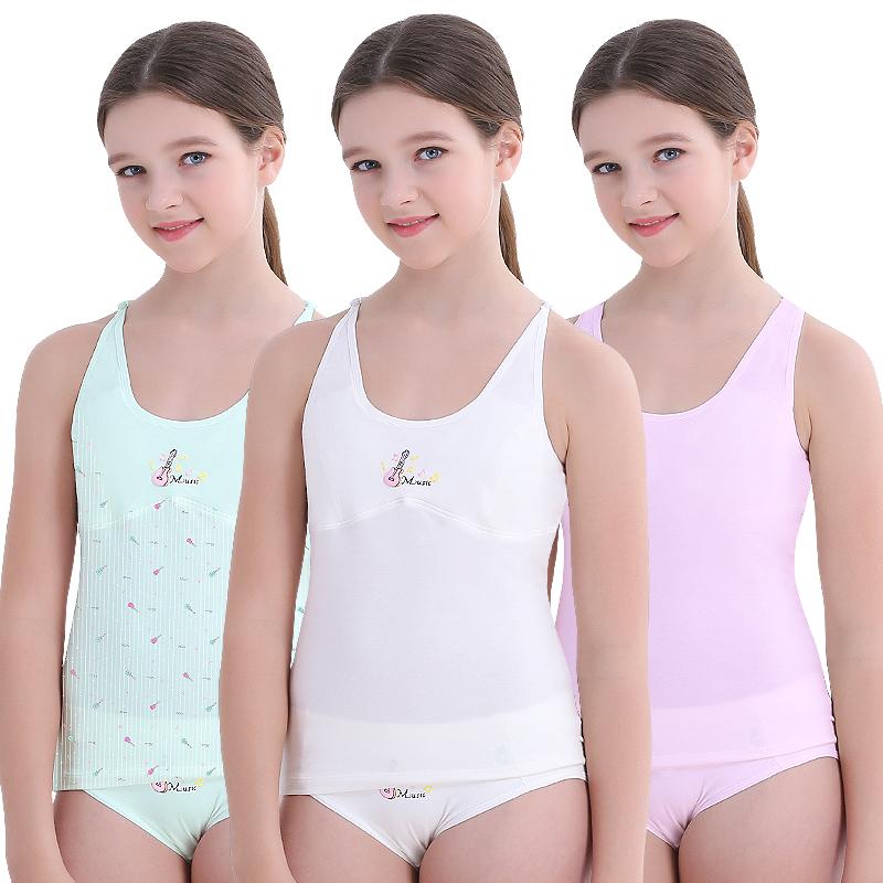 7c2b67a167f9 Girls Underwear Small vest Development Cotton Child Girl Bottoming vest  Sling Child Student 9-12 ...