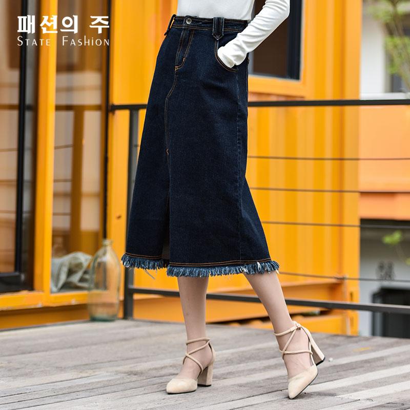尚州2017秋季牛仔长裙带新品百搭流苏经典半身棉质裙女GQQ046