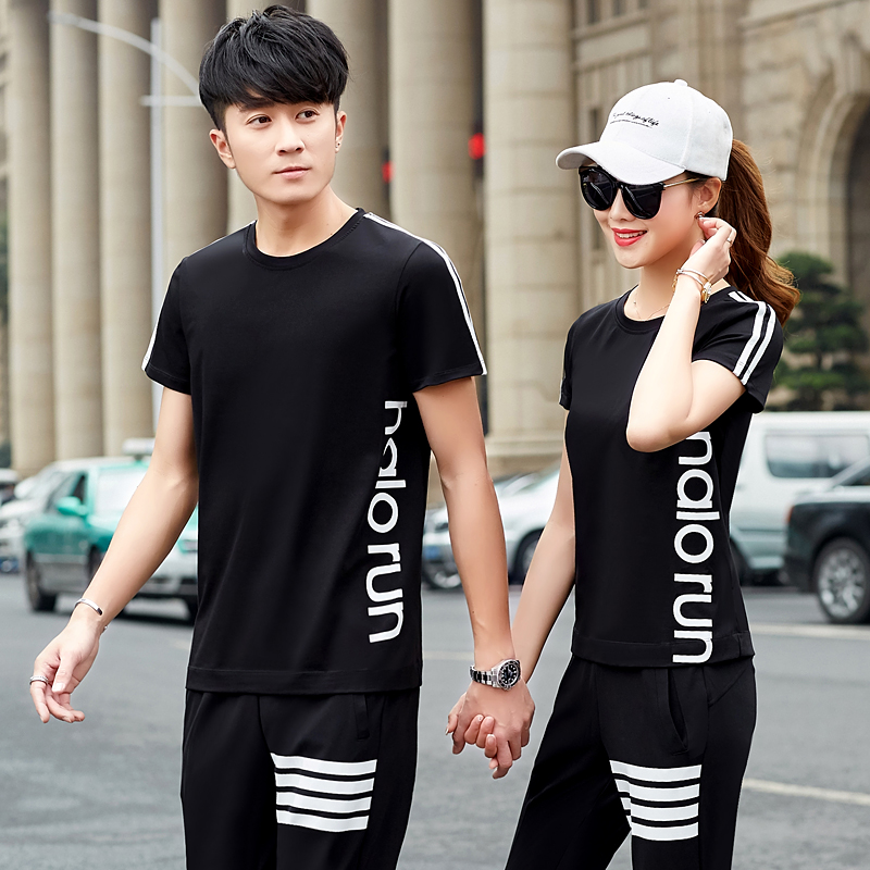 轩尧耐克泰。情侣装短袖件套2020新款两潮流韩版套装夏装T恤v短袖