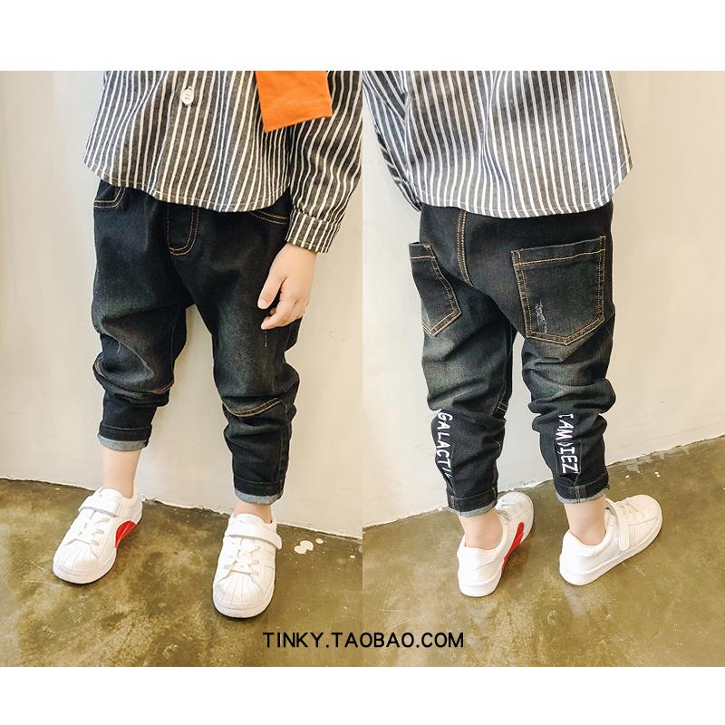 Quần áo trẻ em Tinky mùa thu bé trai mới thêu quần jean giản dị trong quần trẻ em lớn trẻ em phiên bản Hàn Quốc của quần thủy triều