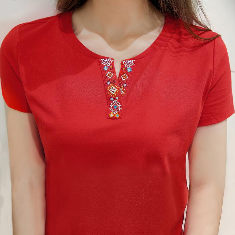 中国风民族v领红色t恤女纯棉短袖图刺绣风绣花半开领修身大码上