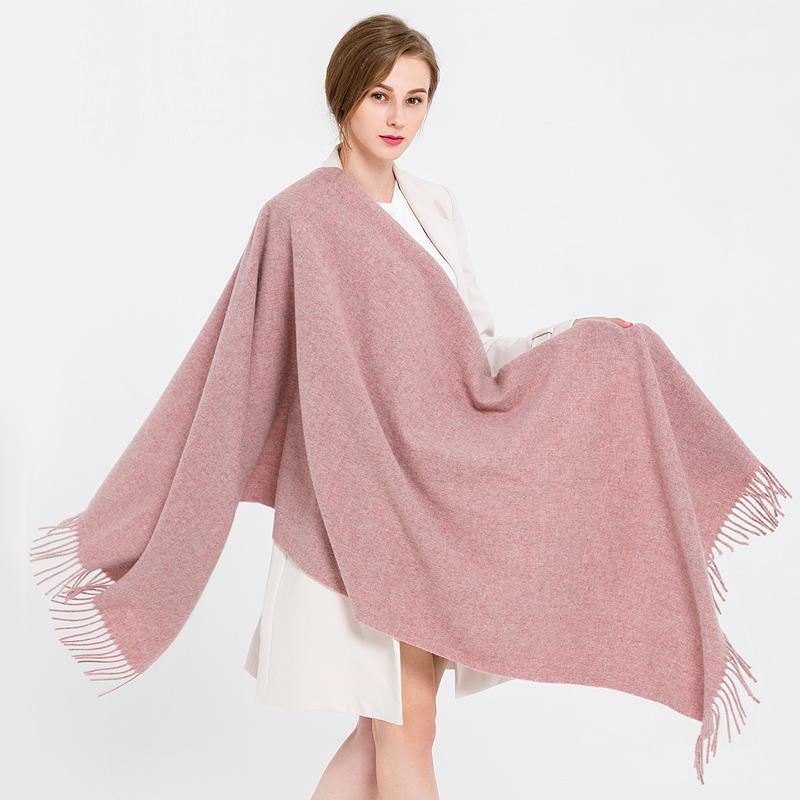 恒源祥纯色羊毛围巾秋冬女韩版百搭加厚保暖披肩冬季长款两用围脖