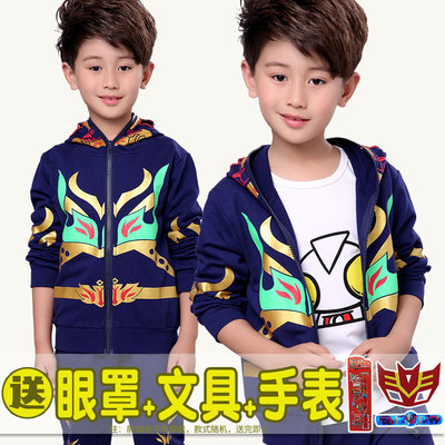Children's wear Ultraman clothes 2017 spring and autumn models children's leisure suits Cotton Korean version of the boy Spider-Man three-piece suit