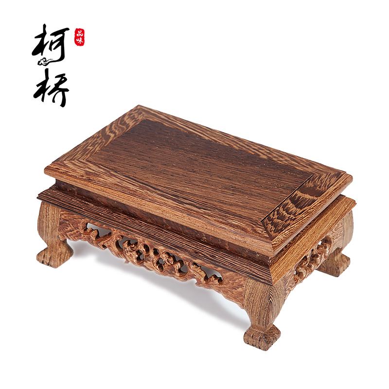 红木石头长方形工艺品底座鸡翅木紫砂壶佛像栽奇摆件实木花盆托架