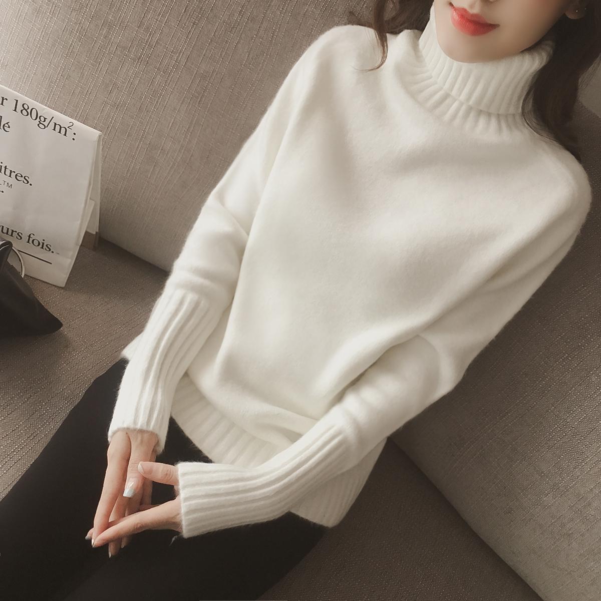 Свитер женский Водолазку женщин зимой 2016 Корейский свободные длинный рукав вязаный свитер короткие утолщенные базовый рубашка