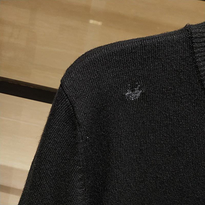 Quần áo nam 2020 mùa thu đông mới dệt kim áo len thêu chữ thêu áo len mỏng Màu sắc áo len thêu tiếng Anh - Áo len