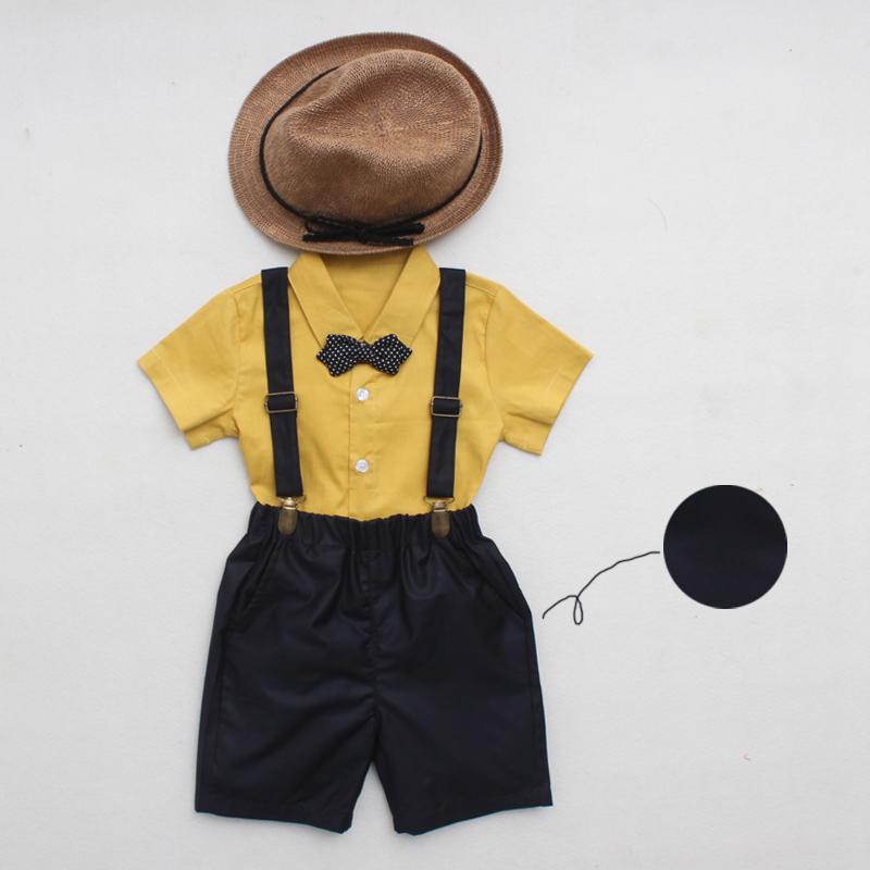 童装男童西装套装2019新款夏装韩版潮儿童英伦礼服花童小西装背带