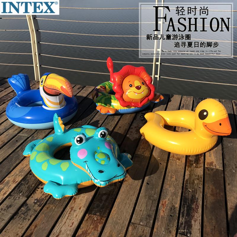 INTEX动物v动物圈3-6-10岁婴幼儿救生圈腋下圈卡通儿童座圈加厚ins