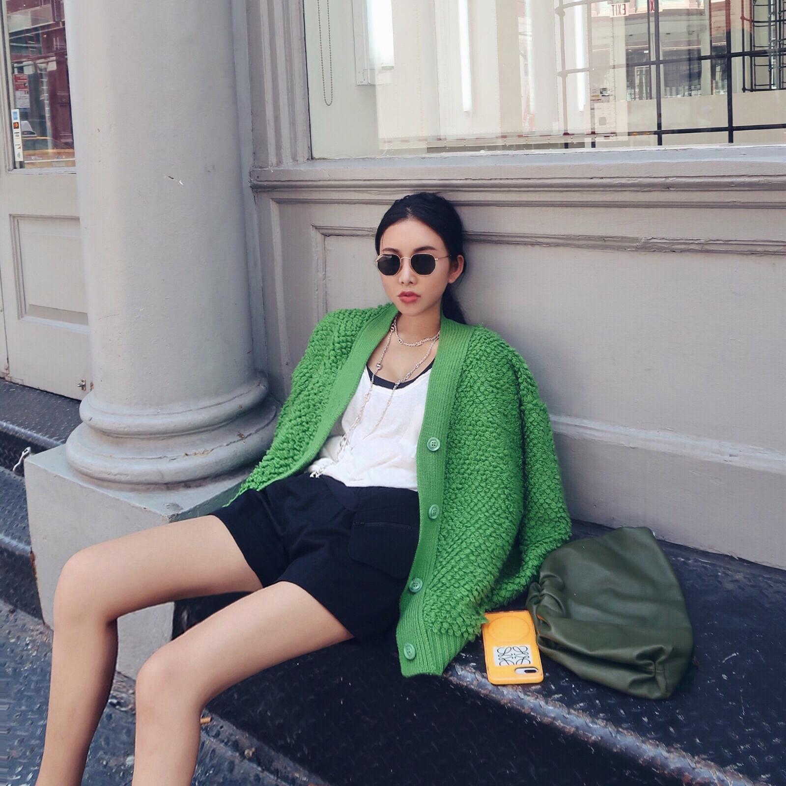 Siêu nặng xanh đúng giờ! Vòng tóc oversize áo len nữ lớn áo len 2020 mới - Áo len cổ chữ V