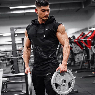 Muscle sports iron vest workout fitness training suit vest male coach slim sweater sleeveless hooded waistcoat