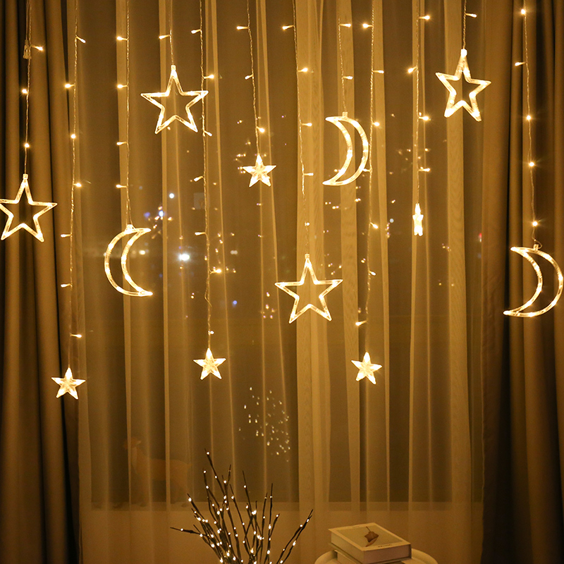 Led Star Moon Lantern String Lights Full Of Star Curtain Net Red Bedroom Romantic Room Creative Decorative Lights