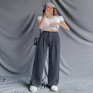 冰丝灰色阔腿裤女夏季垂感2021新款落地小个子直筒拖地西装裤春秋