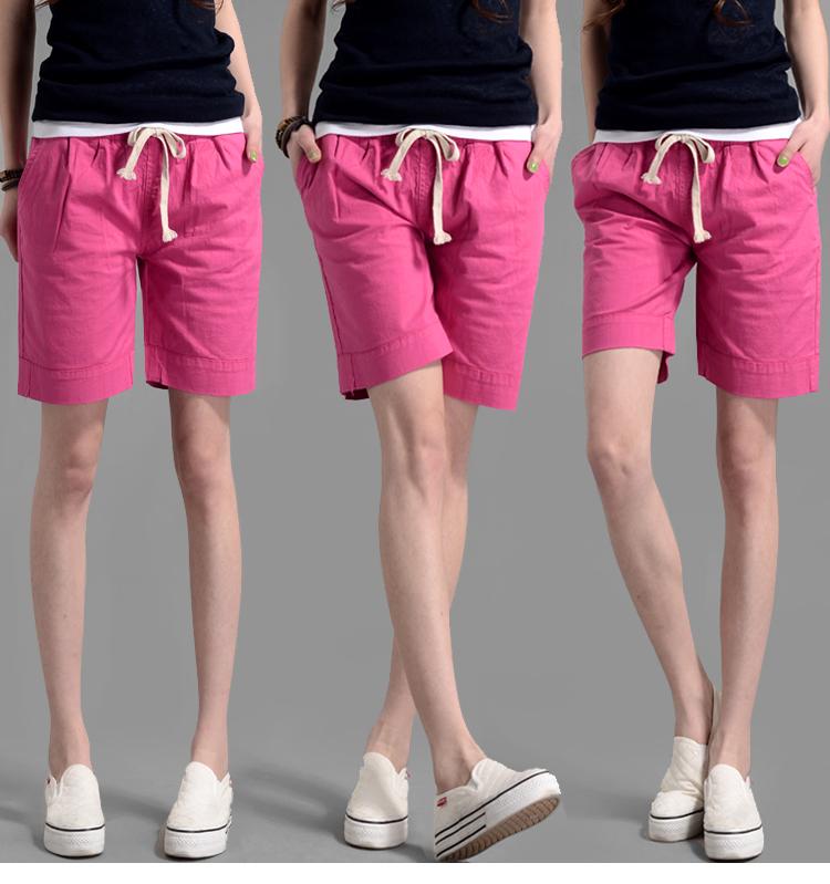 夏季短褲鬆緊腰大碼闊腿褲顯瘦運動褲休閒中褲棉麻五分褲子女