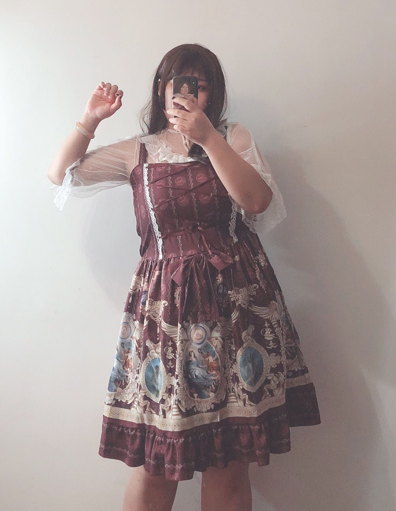42agent Original! Sanskrit Temple ** large size jsk soft sister cute Lolita dress in the waist 200 pounds fat MM two-color - Taobao