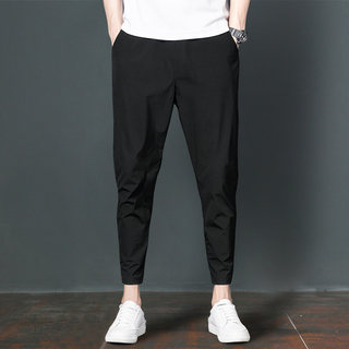 Men's nine-point trousers summer thin section Harlan Slim feet Korean fashion trendy feet handsome black casual trousers