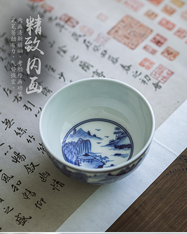 Kangxi all hand landscape master cup of jingdezhen ceramic hand - made sample tea cup kung fu tea cup single CPU