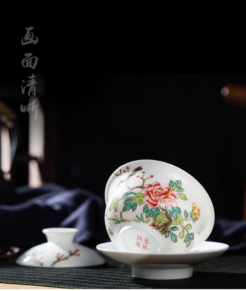 Hand - made powder enamel tureen jingdezhen ceramic only three finger bowl bowl of kung fu tea cup large porcelain
